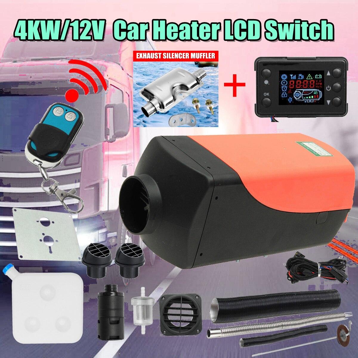 Chauffage de la voiture 4KW 12 V Air Diesels Chauffe Parking Chauffe-Avec Télécommande LCD Moniteur pour Camions Bateaux RV Camping-Car remorque