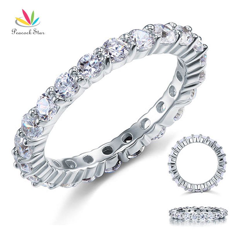 Peacock Star Solid 925 Sterling Silver Wedding Band Eternity Stacking Ring Jewelry Round Cut CFR8061