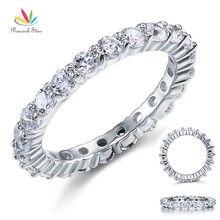 Pavo real Estrellas Esterlina del Sólido 925 Silver Wedding Band Eternidad Anillo de Apilamiento Joyería Corte Redondo Diamante Creado CFR8061