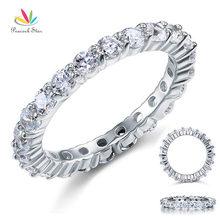Peacock Star Solid 925 Sterling Silver Wedding Band Eternity anello impilabile gioielli taglio rotondo CFR8061