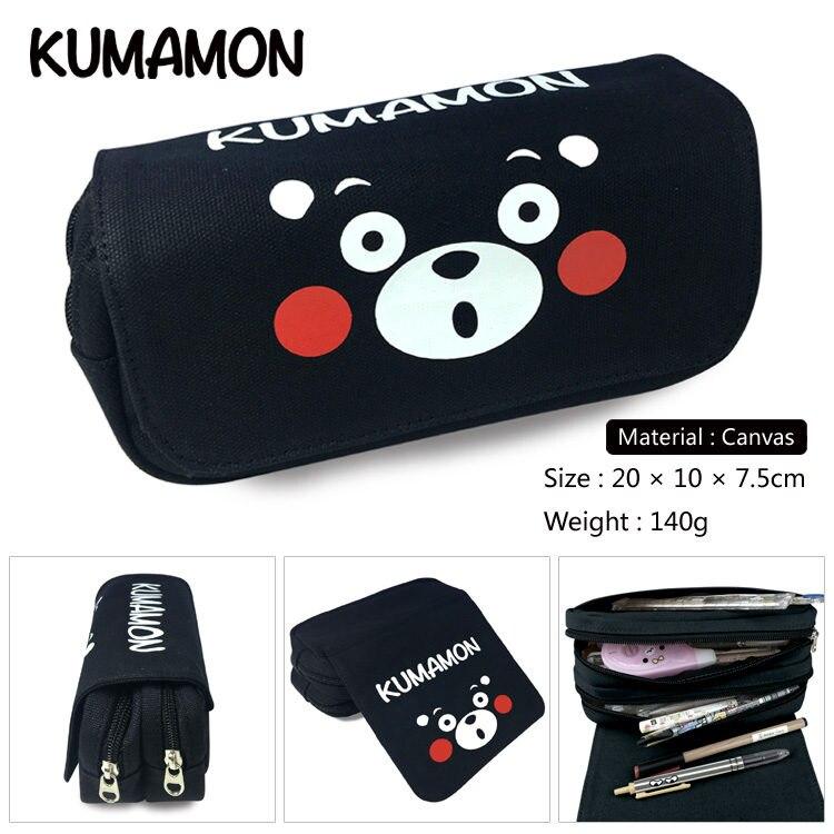 Women Handbags Cosmetic Makeubags Kumamon Anime Cartoon Pencil Bag Printing Pouch Double Zipper Pen Case Student Gift