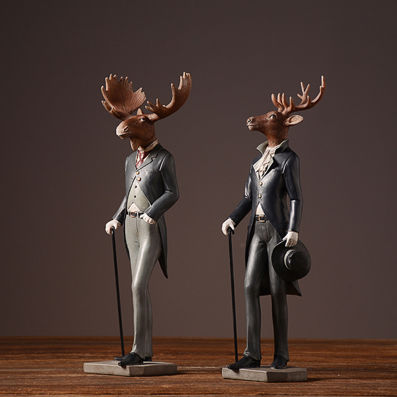 American Rural Style Resin Sir Elk Furnishing articles Gentleman deer Animal Figurines Home Decor Crafts Gifts