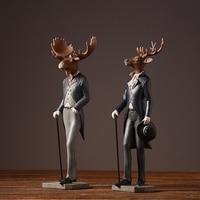 American Rural Style Resin Sir Elk Furnishing articles Gentleman deer Animal Figurines Home Decor Crafts Gifts