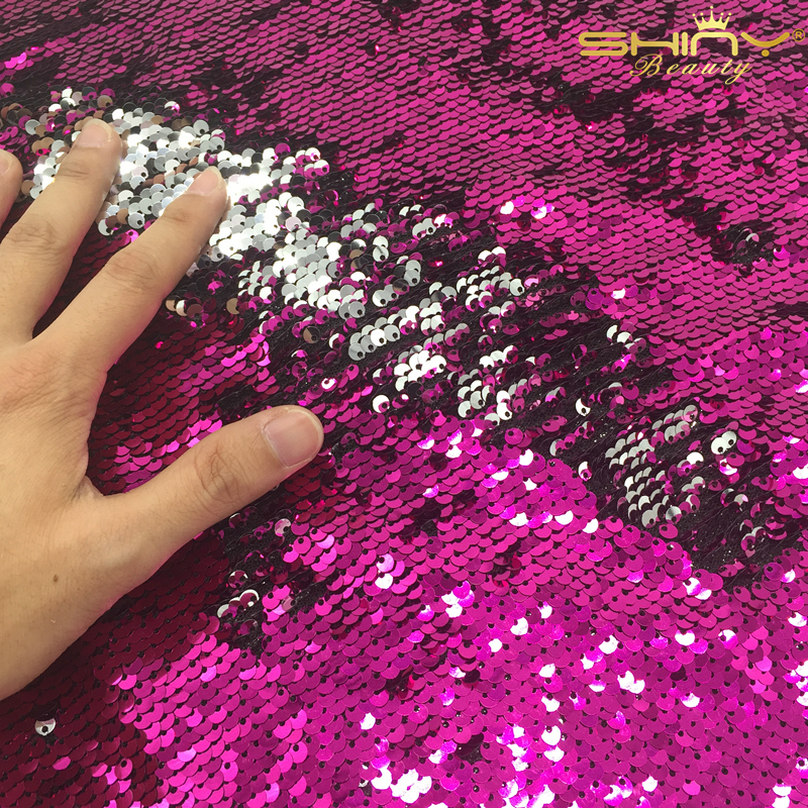 ShinyBeauty Sequin-Fabric By The Meter Sequin Mesh Black 1 Meter 2 Ways Glitter Elastic Material Fabric for Sewing Sequin Wedding Dress//Sequin Tablecloth DIY
