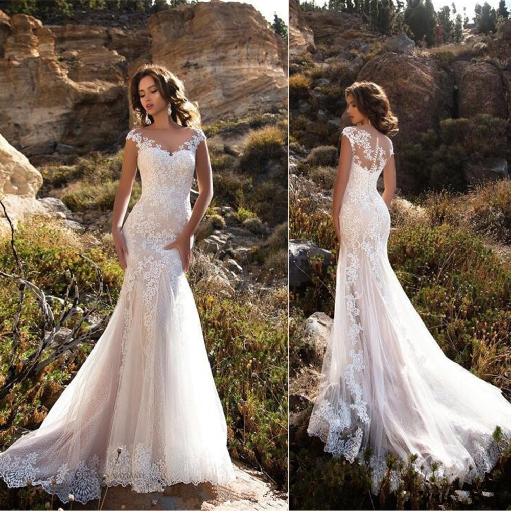 2019 Lace Wedding Dresses: Sleeveless Double Shoulder Neck Appliqued Lace Wedding