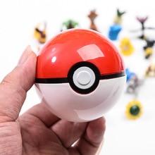 20/pces pokeballs pikachu + livre aleatório mini figuras dentro anime ação & brinquedo figuras 7cm pokeballs