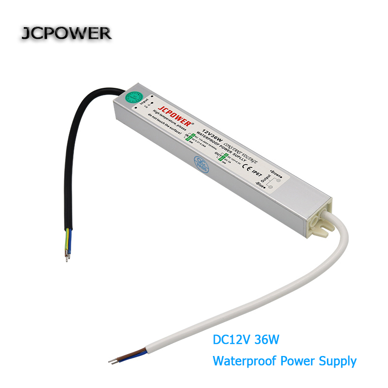 AC100V 110V 220V 240V to dc 12V 3A 36W Led driver waterproof IP67 Power Supply lighting Transformer for led strip Lights new new led strip power supply 110v 220v 264 v to 12v 10 a led driver ip67 waterproof ultra thin led light transformer 120w