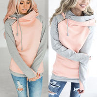 2017 New Fashion Women Long Sleeve Hooded Hoodies Lady Warm Autumn Winter Patchwork Loose Hoodies