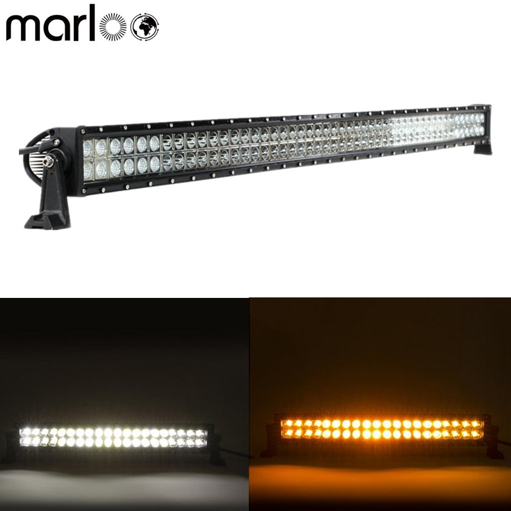 """42/"""" inch Amber White Strobeflash Led Curved Work Light Bar Combo Offroad Remote"""