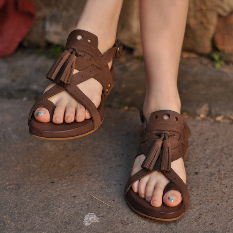 Women Sandals Vintage Shoes Platform Back-Strap Female Genuine-Leather Coffee Handmade