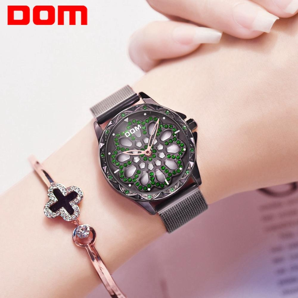 DOM Women Watches Top Brand Luxury Ladies Mesh Belt Watch Stainless Steel Waterproof Clock Quartz Watch Reloj Muje G-1257BK-1MS