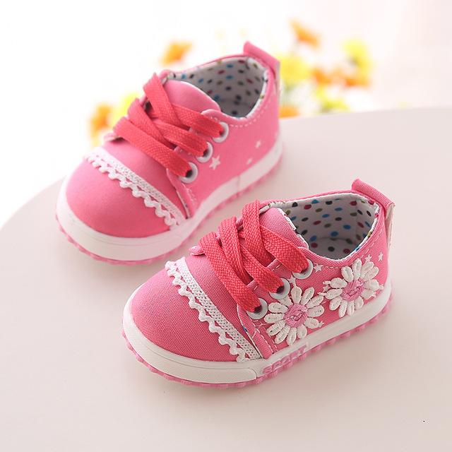 Bebé Zapatos de Lona Del Otoño del Resorte de Flores Fondo De Goma Zapatos Infantiles Del Niño de La Princesa Primeros Caminante de Los Niños para Las Muchachas BS018