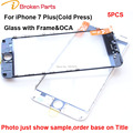 5PCS Original Replacement 3 in 1 LCD Front Glass Lens with Middle Frame OCA for iPhone 7 plus 5.5 inch Outer Screen Touch Panel