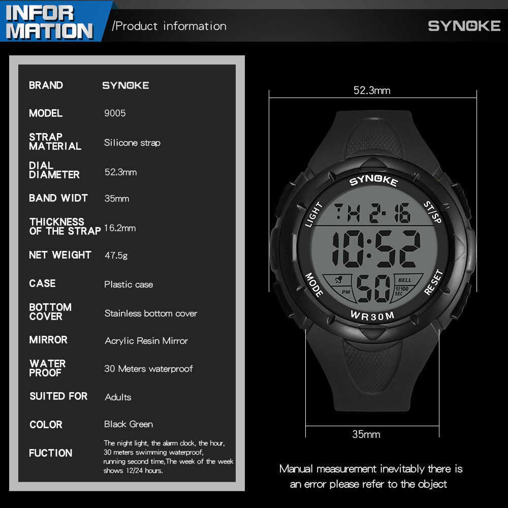 SYNOKE אופנה גברים ספורט שעונים עמיד למים 30m חיצוני כיף דיגיטלי שעון שחייה צלילה שעוני יד Reloj Hombre Montre Homme