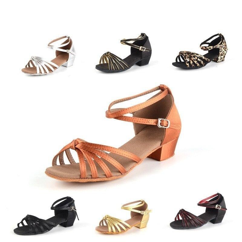 Wholesale Children Latin Dance Shoes Girls Acrobatics Shoe Satin Soft Bottom Flat With Children s Latin