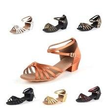 Wholesale Children Latin Dance Shoes Girls Acrobatics Shoe Satin Soft Bottom Flat With Children's Latin Dance Shoes Sports