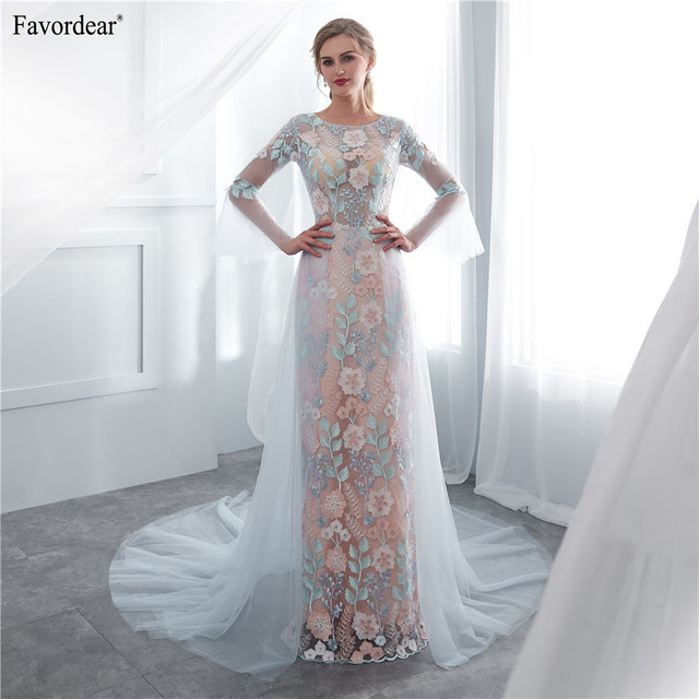 Us 81 26 24 Off Favordear 100 Real Photos 2019 Vestido De Noiva Flower Lace Long Beach Wedding Dresshalter Blue Simple Tulle Bridal Gowns In