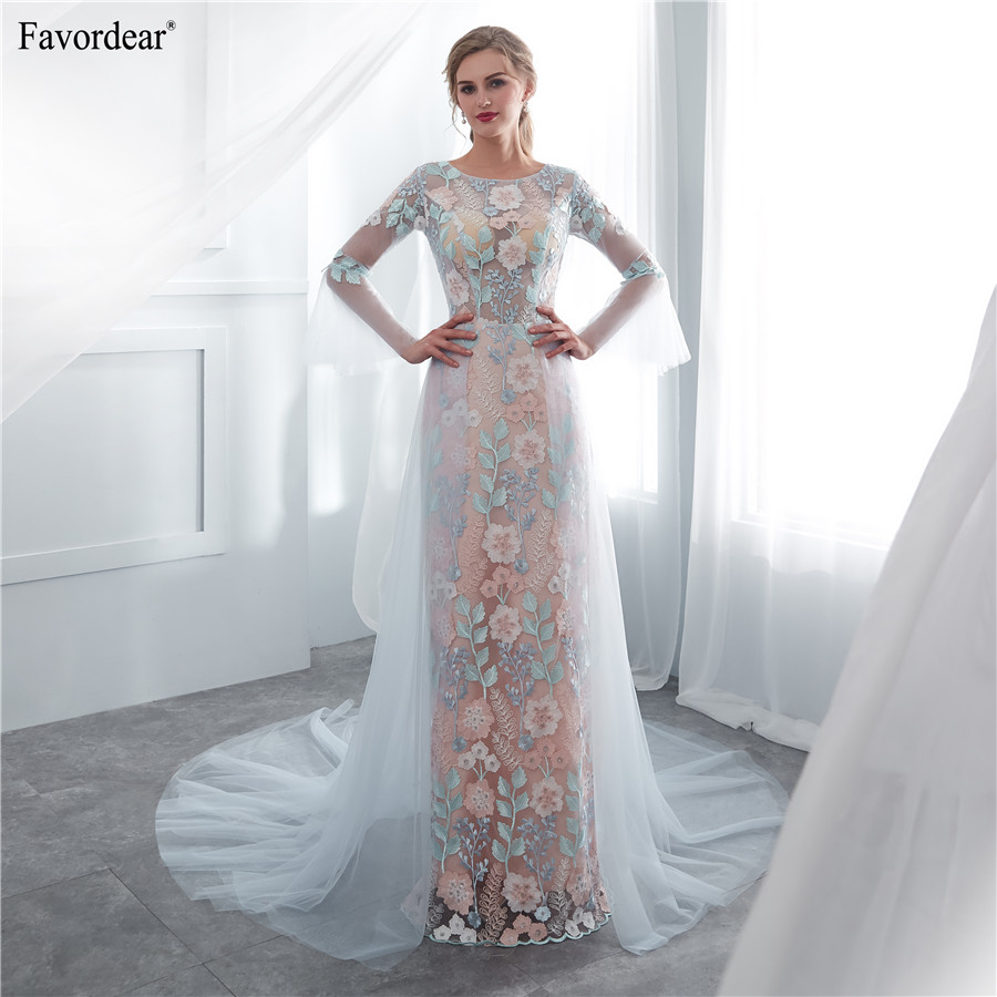 Favordear 100% Real Photos 2019 Vestido De Noiva Flower Lace Long Beach Wedding DressHalter Blue Simple Tulle Bridal Gowns