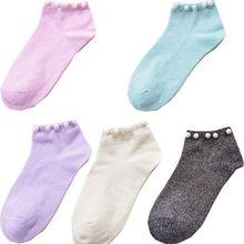 Милые женские весенне-летние дышащие эластичные носки с имитацией жемчуга, черные, розовые и т. д. носки