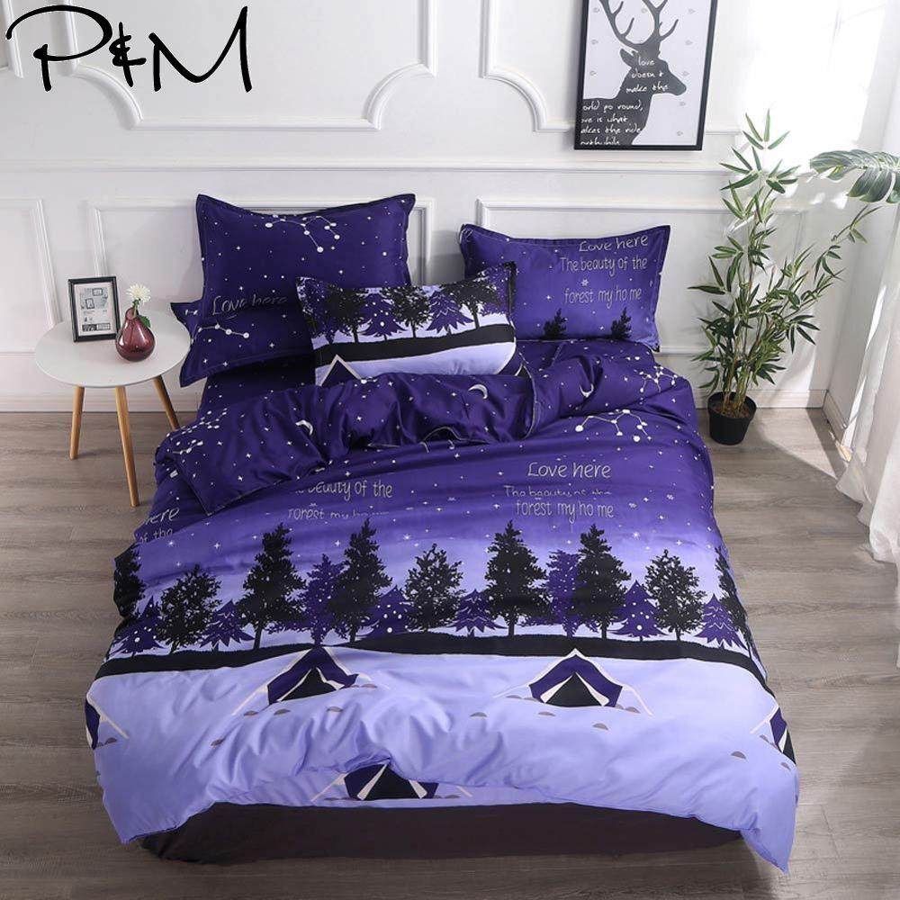 2019 Dark Blue Tent Night Forests Bedlinens Brush Microfiber Polyester Fabric Duvet Cover Set Twin Full Queen King Bedding Set
