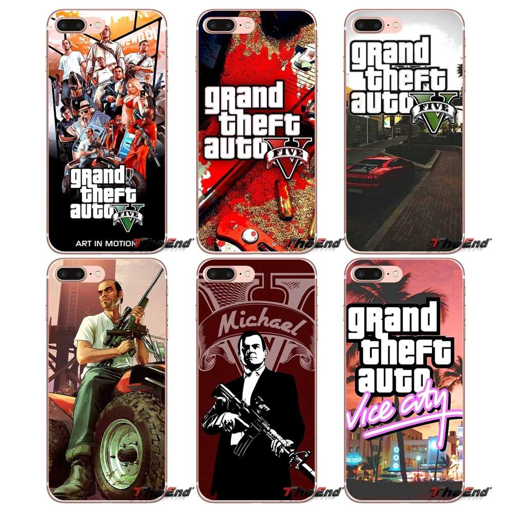 GTA San Andreas Grand Theft Auto 5 V สำหรับ iPhone X 4 4S 5S 5C SE 6 6S 7 8 Plus Samsung Galaxy J1 J3 J5 J7 A3 A5 2016 2017