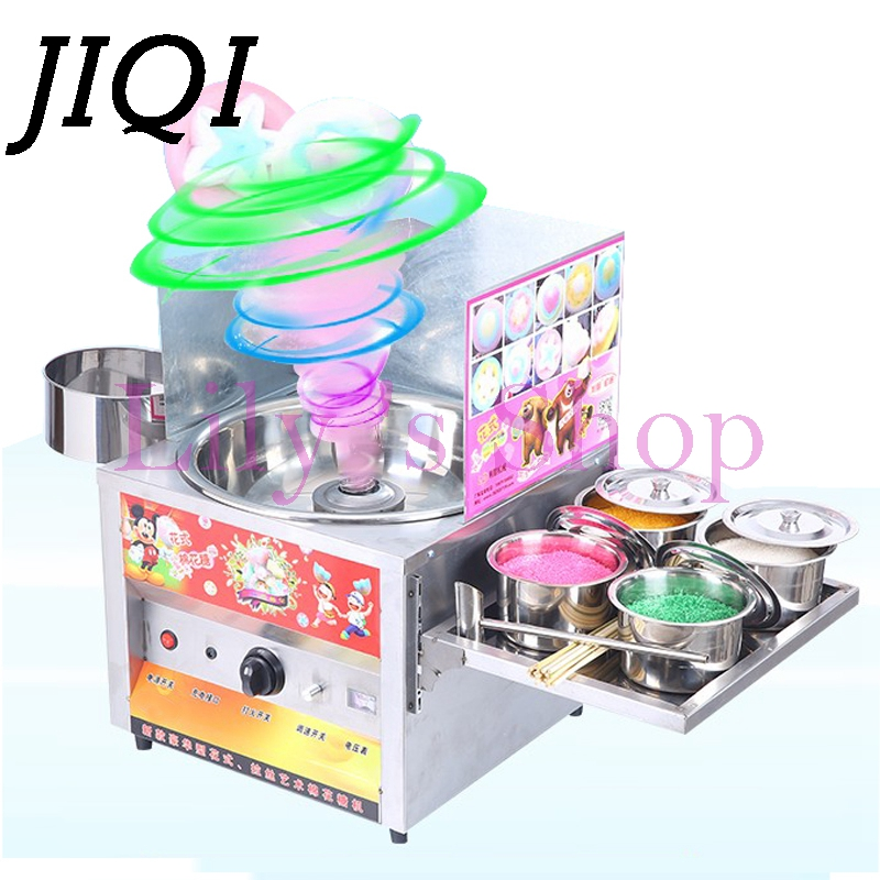 JIQI Commercial fancy gas cotton candy maker DIY sweet Candy sugar floss machine stainless steel snack equipments stalls flower fancy pants candy corn