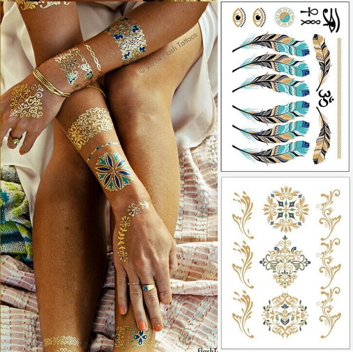 2pcs Lot Colorful Temporary Tattoo Metallic Sticker Flash Body Art