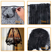 Curtain Cloth Halloween Knitted Curtain Lamp Cover Black Spider bat lace Decorative Curtains 60x20cm Modern Drop shipping Aug13(China)
