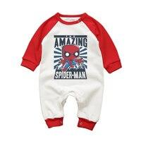 Детские Комбинезоны для малышек с длинным рукавом хлопок комбинезон Удивительный Человек-паук мультфильм новорожденных Обувь для девочек ...