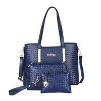 2017 Women Knitting Handbags Sac A Main Shoulder Bags Brand Crossbody Tote Handbags+Messenger Bag+Purse Bag 3 Sets Branded Sac
