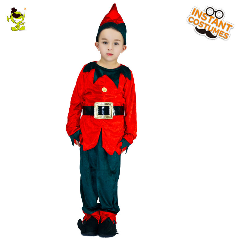 2018 New Design Boys Cute Red Kids Elf Costumes Lovely Christmas Party Fancy Dress For Cosplay Costumes For Children Boys