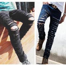 Ripped skinny black blue jeans men's personality rock style jean pants homme slim fit pants for men jeans 2016 distressed TC227