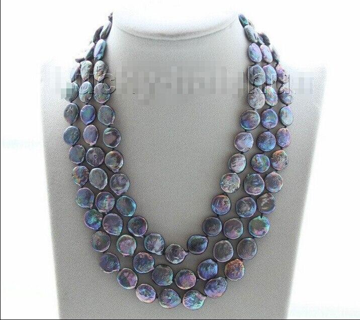 Livraison gratuite>>> réglable 3row 12mm coin fixation noir perle collier j951