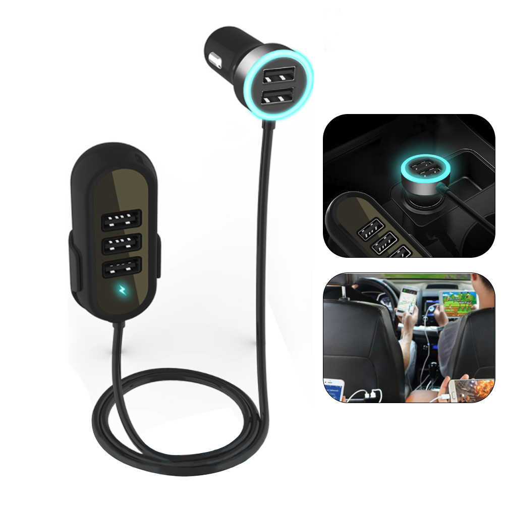 Q8T 5.8A автомобильное зарядное устройство 5 портов USB QC 3,0 переднее и заднее сиденье автомобильное зарядное устройство адаптер для карт памяти для многократной зарядки заднего сиденья