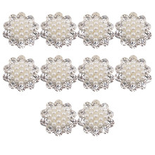 ABKT-Faux Pearl Flower Buttons Craft Embellishments 20mm Pack of 10(China)
