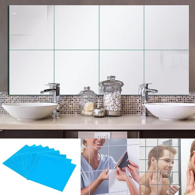 9 16 32 Pcs Mirror Tile Wall Sticker Square Self Adhesive Room Decor Stick