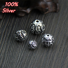 Thai Silver Six Words Mantra Round Spacer Beads DIY Bracelet 924 Sterling Silver Jewelry Findings 8-14mm(China)