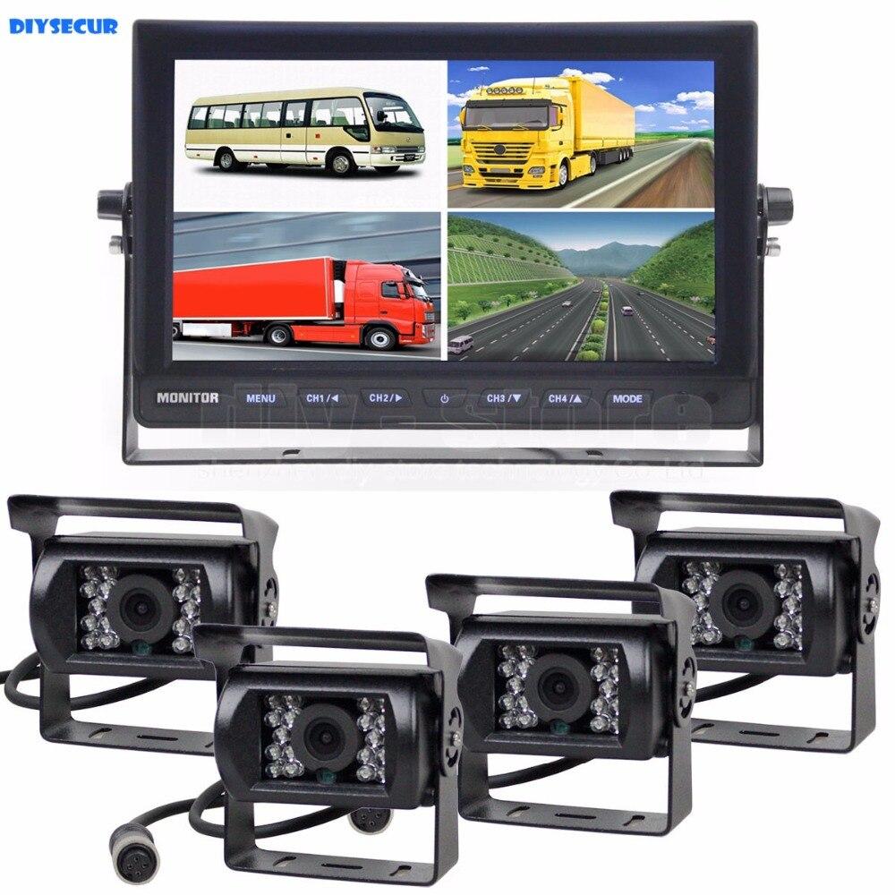 DIYSECUR 10 Pouces Split QUAD Moniteur de Voiture + 4 x CCD Caméra de Recul Étanche pour Camion Bus Vidéo Surveillance système