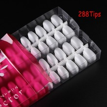 1Pack (=288Tips) Nail Art False Tips Transparent Frosted Fake Ultra-thin & Soft Full Cover Gel Extention 12 Sizes