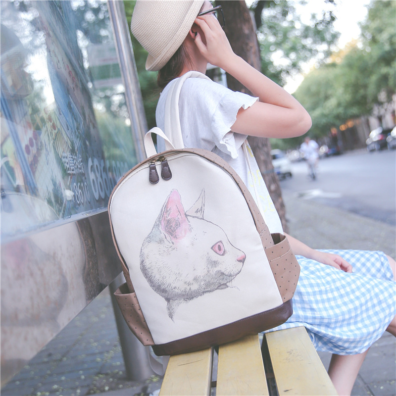 YOUYOU MOUSE Cute Cartoon Women Backpacks Large Capacity Laptop Backpack Canvas School Bags For Girls Cat