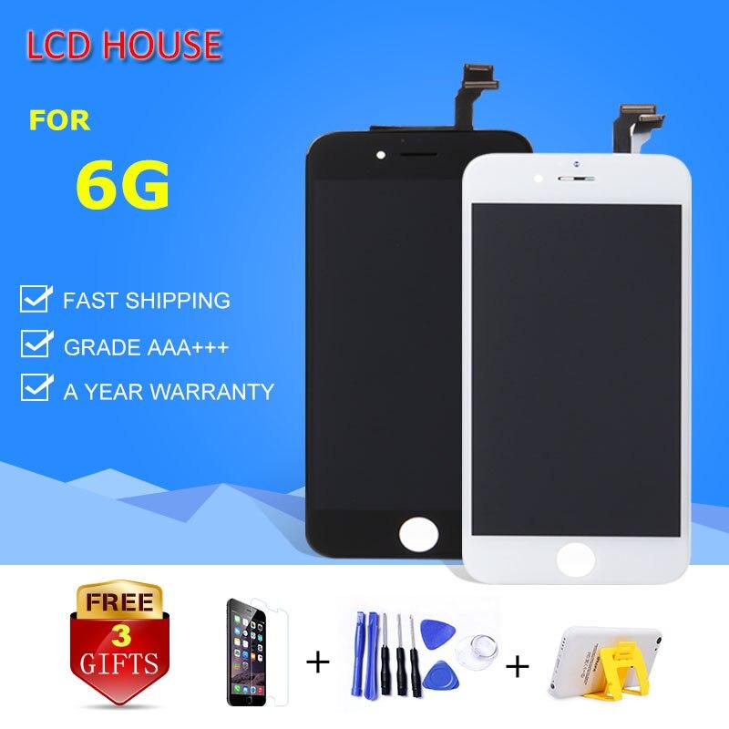 100% grado AAA pantalla para iPhone 6 6g pantalla LCD con Touch Digitizer reemplazo completo de la Asamblea blanco negro A1549 a1586 A1598
