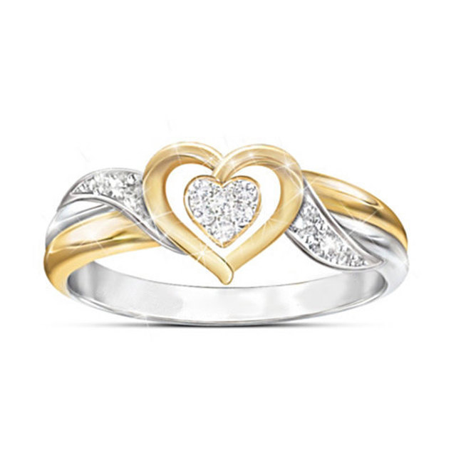 LETAPI 2019 New Fashion Gold Silver Color White Zircon Crystal Heart Wedding Ring for Woman Party Gifts