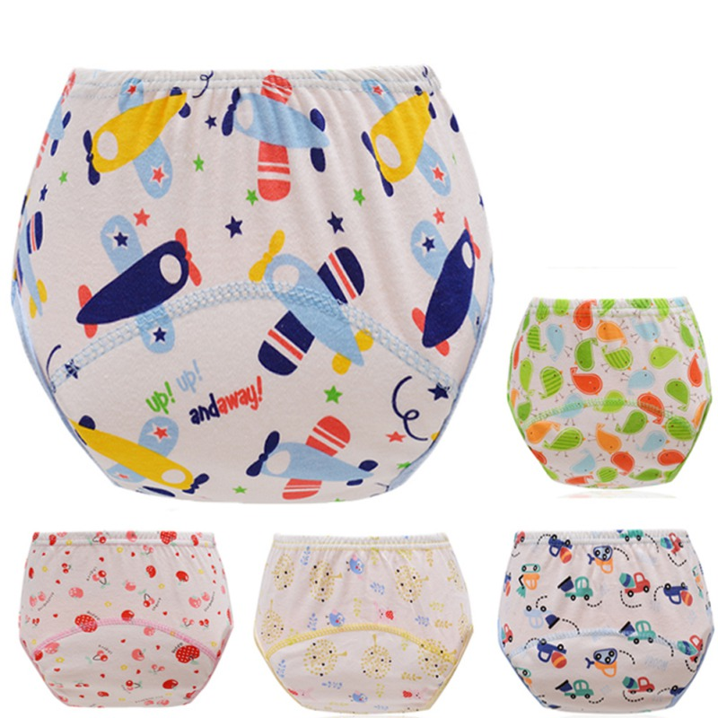1Pcs Cute Baby Cotton Training Pants Panties Baby Diapers Reusable Nappies Cloth Diaper Washable Infant Children Underwear Nappy