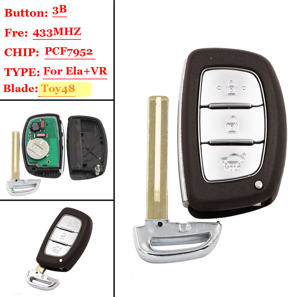 (1pcs ) Smart Key For Hyundai VERNA ELANTRA Smart Remote Key Control 433mhz Keyless Entry Push Start Key Fob With PCF7952 CHIP U