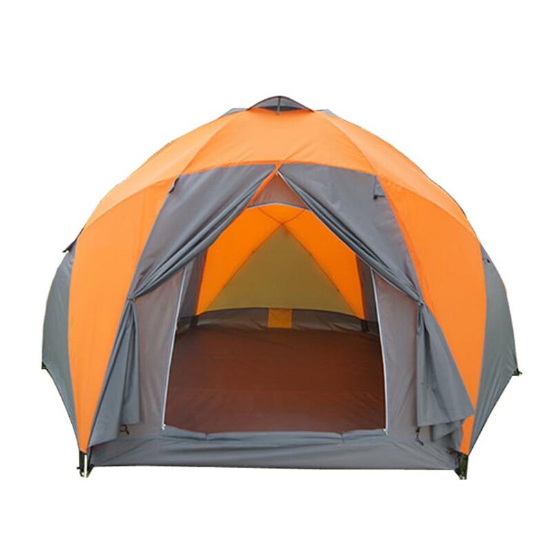 Grande tenda da campeggio 5-8 persona tenda da giardino Doppio strato Tre porte tende esterne per la famiglia di campeggio di viaggio 330*380*195 cm