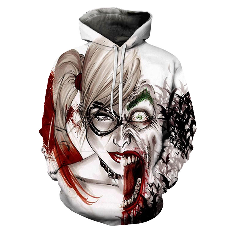 New Anime Hoodies Men 3D Sweatshirts Men Printed Suicide Squad Joker  Quinn Fashion Hoodie Pullover Sweats Streetwear 2019