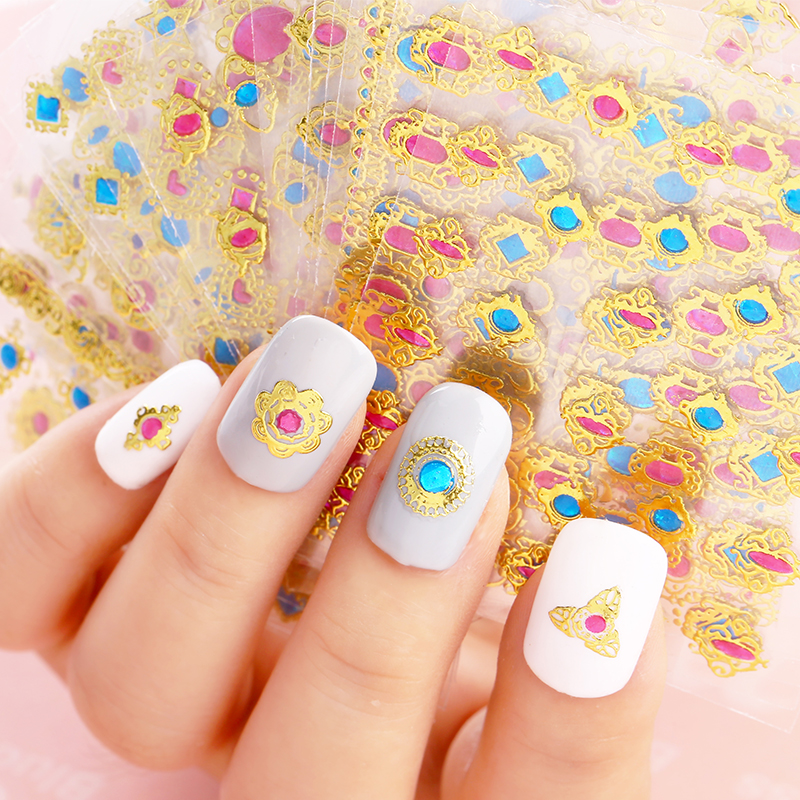 Blueness 24pcs/lot 3D Design Nail Foils Summer For Nail Art Stickers Manicure Bronzing Gold Decals Decorations Tools JH139 Gift