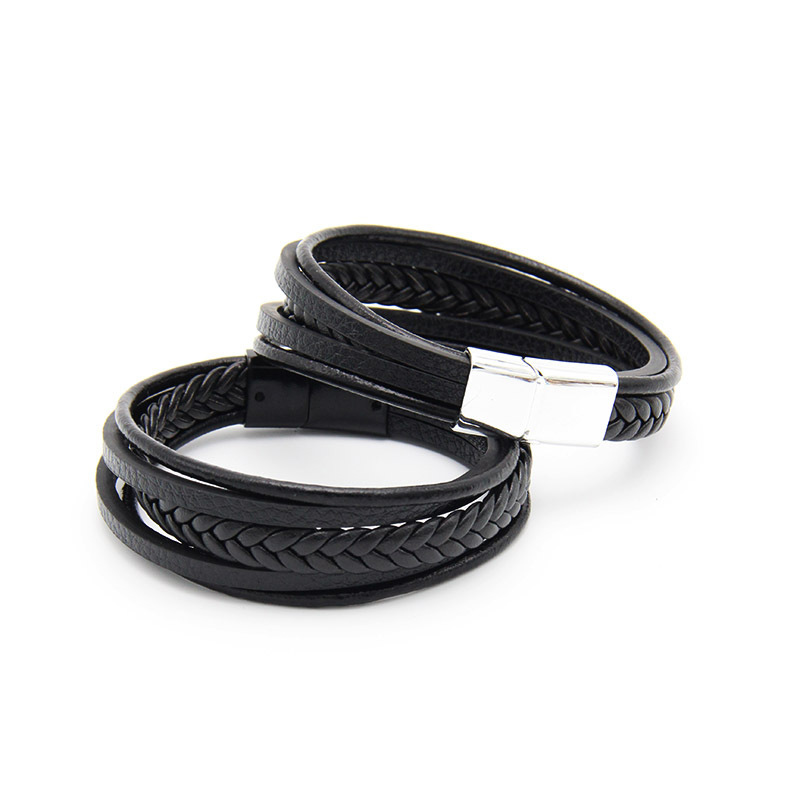 NIUYITID Men Leather Bracelet Magnet Buckle Vintage Male Braid Jewelry For Women Handmade Multi layer Wrist Band Gifts  (8)