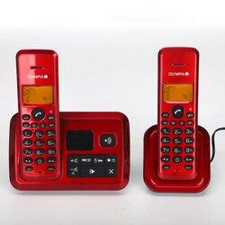 Inglês alemão russo língua telefone sem fio com id chamada função do sistema de resposta telefone fixo para casa prata