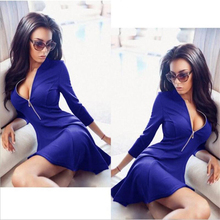 2018 Spring Autumn Fashion Women Bust Zippers Dress Solid Pleated V-neck Sexy Ladies Dresses Evening Party Bodycon Mini Vestidos